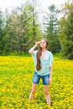 Girl (woman) in summer park Royalty Free Stock Photo