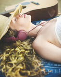 Girl Woman Women Beach Emotion Leisure Relax Concept Royalty Free Stock Image