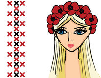 Girl or woman with wreath of poppies Royalty Free Stock Photo