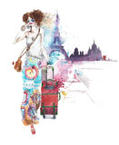 Girl woman young lady young woman on vacation with luggage travelling walking watercolor painting illustration isolated on white b Royalty Free Stock Photos