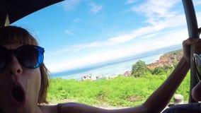 The girl wondering about amazing view panorama tropical island Nusa Lembongan, Bali. Smiling and wondering. Asia.  stock video