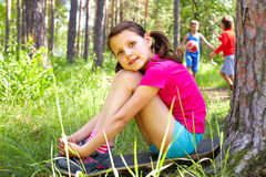 Girl in wood Royalty Free Stock Photo