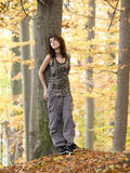 Girl in wood Royalty Free Stock Photography
