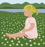 Girl with wood anemones Royalty Free Stock Photos