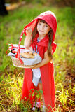 Girl in the wood with a basket in hands. Royalty Free Stock Image