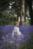 Girl in a wood full of spring bluebells Royalty Free Stock Photography