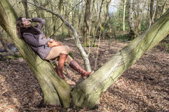 Girl in the wood Stock Images