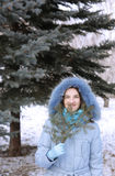 Girl in a wood in the winter Stock Photos