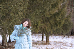 Girl in a wood in the winter Royalty Free Stock Image