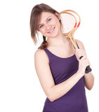 Girl with wooden badminton rackets Royalty Free Stock Image