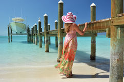 Girl at the wooden jetty Royalty Free Stock Photo