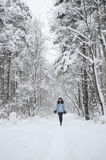 Girl in woodland snow scene Royalty Free Stock Photos