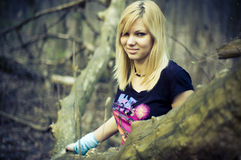Girl in the woods Stock Photography