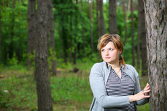 The girl in the woods. Against the backdrop of trees, the girl in the lap of nature Royalty Free Stock Photography