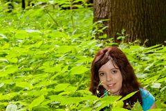 The girl in the woods Royalty Free Stock Photography