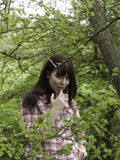 Girl in the woods Stock Images
