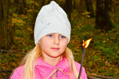 The girl in the woods. A girl is in the autumn forest stock photos