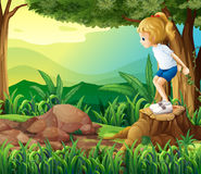 A girl in the woods. Illustration of a girl in the woods Royalty Free Stock Photography