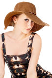 The girl wore a big hat Stock Photography