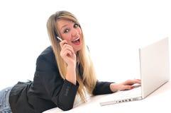 Girl work on laptop Royalty Free Stock Image