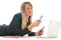 Girl work on laptop Stock Photography