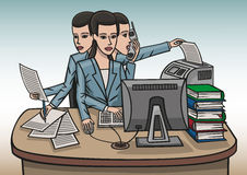 Girl workaholic. A girl in the office is working hard at his desk Royalty Free Stock Photos