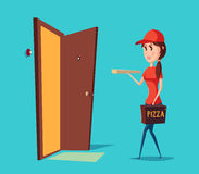 Girl worker in cap delivering pizza to door with ring or bell. Adult woman in hat uniform holding pizza box near Stock Images