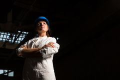Girl worker in the factory Royalty Free Stock Images