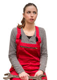 Girl worker has troubles Stock Photos
