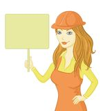 Girl worker holding a sign Stock Photography