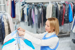 Girl worker Laundry Stock Photos