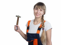 Girl worker with the tool Stock Images