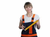 Girl worker with the tool Royalty Free Stock Photo
