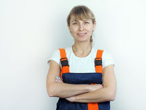 Girl worker in uniform Stock Photography