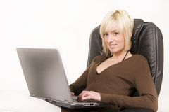 Girl working on computer Royalty Free Stock Image
