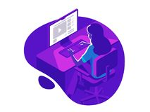 A girl working on the computer in the evening on the dark background. Isometric 3d vector illustration. A girl working on the computer in the evening on the stock illustration