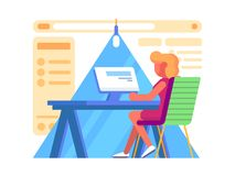 Girl working at computers. Secretary workplace in office. Vector illustration Stock Photography