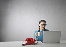 Girl working Royalty Free Stock Images
