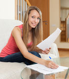 Girl working with documents Royalty Free Stock Image