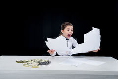 Girl working with documents at workplace Royalty Free Stock Image