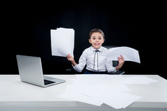 Girl working with documents at workplace Royalty Free Stock Photos
