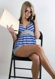 Girl working on files Stock Photo