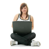 Girl working on her laptop. Royalty Free Stock Photo