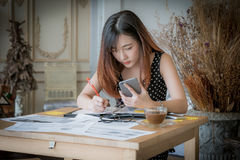 The girl working from his home office Royalty Free Stock Photo