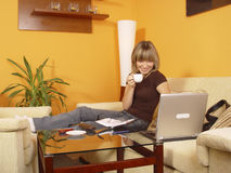 Girl working from home Royalty Free Stock Photos
