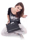 Girl working with laptop. stock image