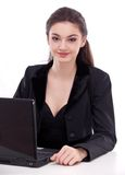 Girl working with laptop. Stock Photos