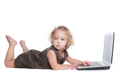 Girl working on a laptop Royalty Free Stock Images