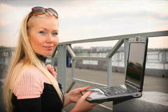 Girl working with laptop Royalty Free Stock Photo