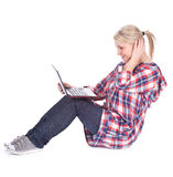Girl working on laptop Royalty Free Stock Images
